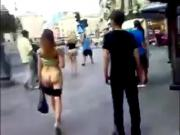 Young girl walking Nude on Streets