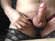 horny crossdresser cums