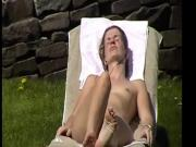 Naked girl in a german sauna garden 1