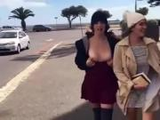 2 hot girls flashing in the street