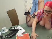 Redhead fucked over her desk