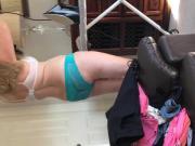 Wife doing hair in panties and bra