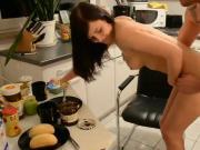 Naughty Amateur Brunette Morning Sex in Kitchen