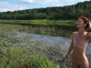 Topless swimming in Volga-river