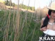Submissive chained brunette teen in outdoor