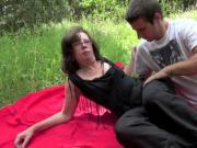 Granny fuck boy in forest