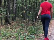 Sporty girl with big ass in the forest