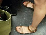 Candid feet train ride