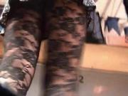 Upskirt Black Pantyhose at Market
