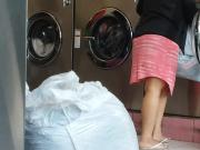 Pregnant teen at the laundromat