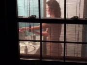 Sexy neighbor spied on through window