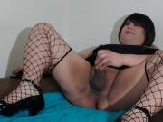Linda in her tight one piece tugging her little clitty