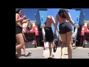 Candid Short Stack in Black Spandex and Big Bikini Tits