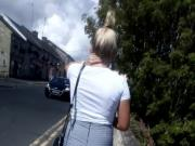 Candid Blonde in tight shorts with great arse and legs