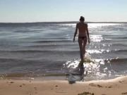 stunning young sexy beauty Nicole nude at beach