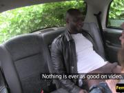 Female taxi driver sucking in interracial cab