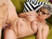 Lusty grandma vs young big cock