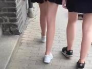 Slut teen skirt walk bitch