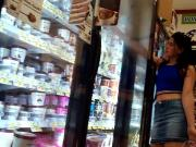 hot girl no bra frozen food isle