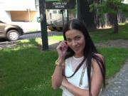 Brunette fucks agent in Forest gold wristwatch