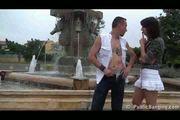 Public- public sex threesome by a fountain