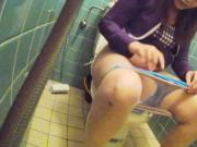 asian young cute girl in toilet pt4