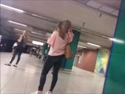 Cute teen asses waiting for the metro HD