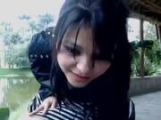 Latina teen Burbujita showing her twat outdoor for webcam
