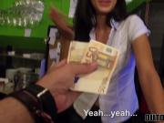 Slutty waitress Alexa Tomas fucks in her own bar for cash