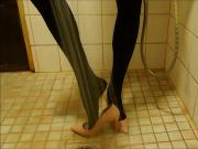Showering in pink stiletto high heels and nylons