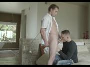 Handsome young neighbors bareback banging with passion