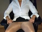 Alysha Upskirt in Pantyhose, Flashing her Pierced Bald Pussy