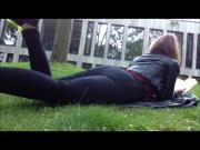 Girl farting outdoors