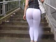 girl in white see through leggings