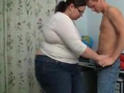 Fat woman fucking an young stud