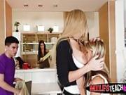 Hot teen Gina Gerson and MILF Kayla Green pounded by Jordi