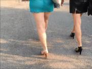 walking in heels and see through dress