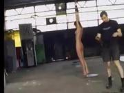 Thin girl tied and bullwhipped cruelly