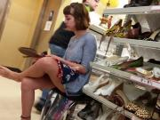 Beautiful teen upskirr shoe shopping