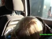 Aunty Trisha & Kim back seat cock sucking
