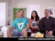 FamilyStrokes- Cute Stepsis Flashes Tits And Fucks Stepbro