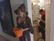 Mom gets Trick or Treat Cock in the bathroom
