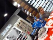 Candid voyeur hot legs blonde legs milf sneaker shopping