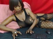 Ebony shows a nip slip
