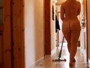Beautifull curvy girl cleaning her pad