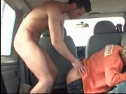 three young men fucking in a car