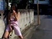 Playing with vegetables in the street - Japanese girl in public part 3