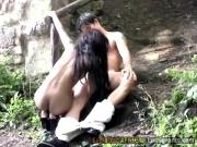 Wildy ebony doggy pounded at the woods