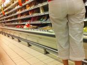 Ass voyeur 04 - See through mature white pants