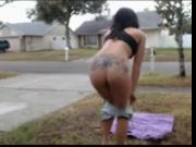 Naked MILF does headstand OUTDOORS